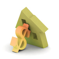 3D illustration of house leaning on dollar sign